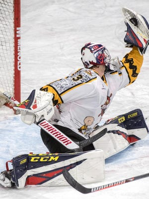 Peoria Rivermen goaltender Eric Levine makes a dazzling glove save during an SPHL game at Carver Arena in 2019-20. He was named SPHL Goaltender of the Year on Wednesday, April 15, 2020.