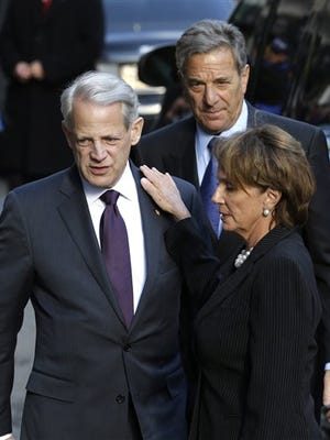 U.S. Rep. Steve Israel, left, and U.S. Rep. Nancy Pelosi arrive to the wake for former New York Governor Mario Cuomo in New York, Monday, Jan. 5, 2015. Cuomo, 82, died in his Manhattan home on Thursday, Jan. 1 just hours after his son was inaugurated for a second term.  (AP Photo/Seth Wenig)