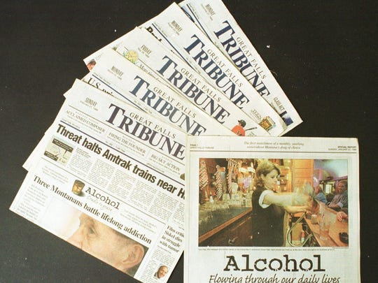 """Great Falls Tribunes featuring the 1999 yearlong series, """"Alcohol: Cradle to Grave,"""" which was awarded Pulitzer Prize on April 10, 2000."""