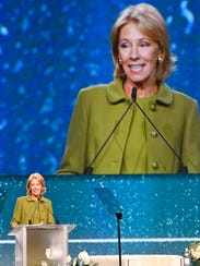 U.S. Secretary of Education Betsy DeVos speaks during