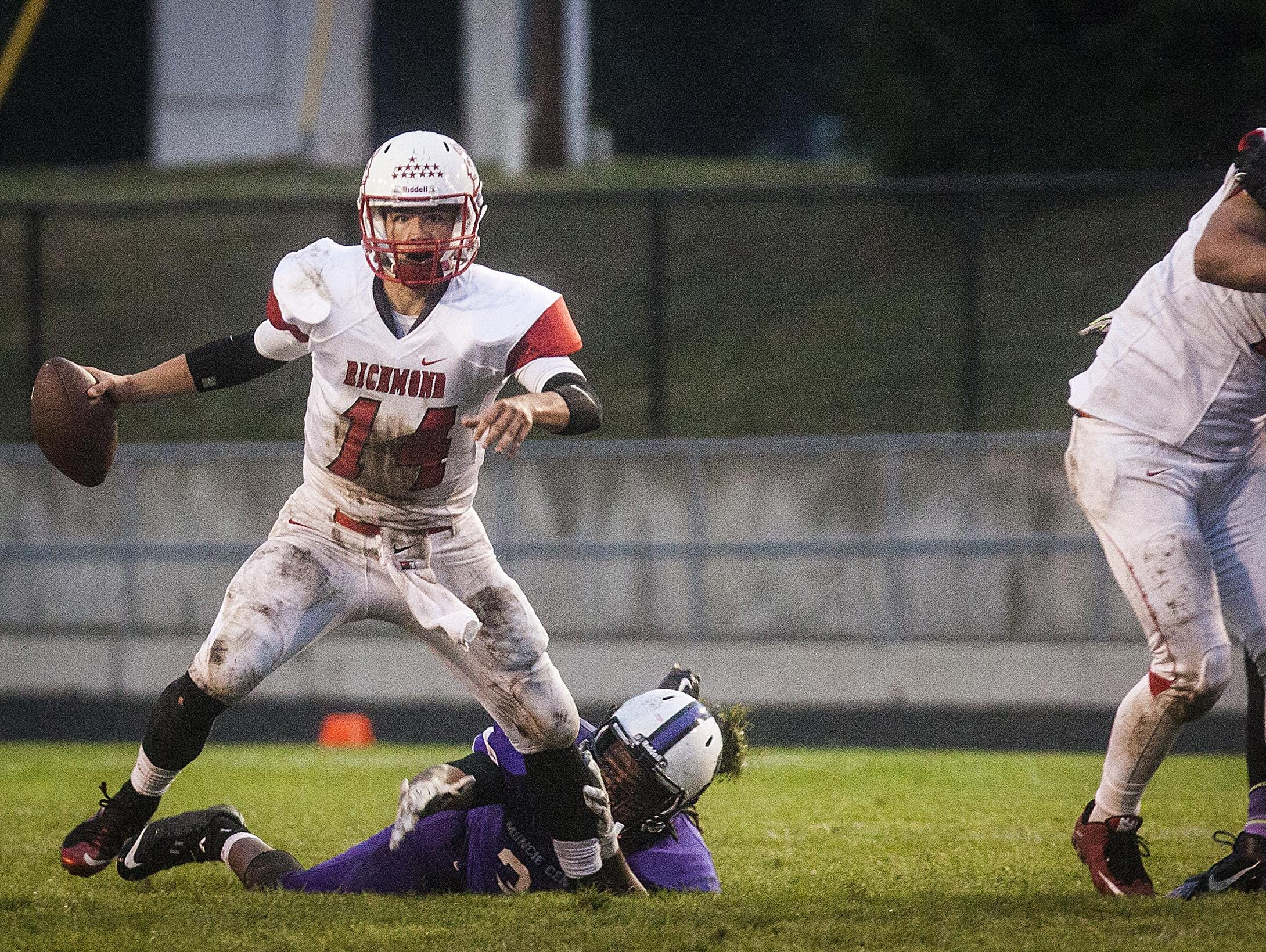 Richmond's Jordan Christian fights against Central's defense during their game at Central Friday evening.