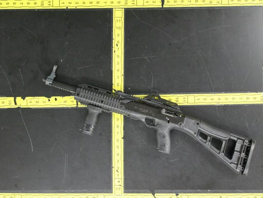 One of the rifles recovered from the car.