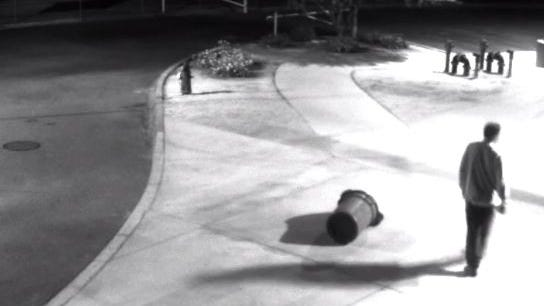 Security footage from the school shows a man walking through the campus at about 2:40 a.m., approximately an hour and 40 minutes before the van was stolen.