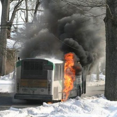 A Transport of Rockland bus erupted in flames last winter.