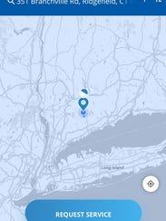 A screenshot of SnoHub, an on-demand snowplowing app