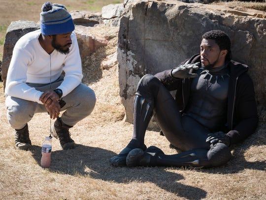Director Ryan Coogler, left, and Chadwick Boseman (T'Challa/Black