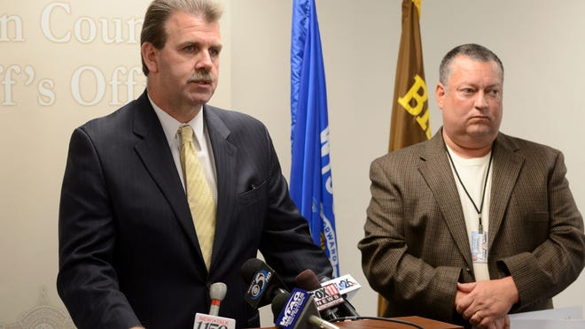 Capt. David Konrath, left, and Capt. Jeff Sanborn of the Brown County Sheriff's Office talk Monday about the results of the Internet Crimes Against Children Task Force Operation AEGIS that netted multiple arrests.