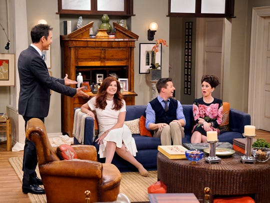 """Eric McCormack, Debra Messing, Sean Hayes and Megan Mullaly argued about the president in the """"Will & Grace"""" reboot last season."""