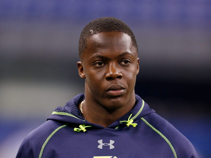 Feb 23, 2014; Indianapolis, IN, USA; Louisville Cardinals quarterback Teddy Bridgewater looks on during the 2014 NFL Combine at Lucas Oil Stadium. Mandatory Credit: Brian Spurlock-USA TODAY Sports
