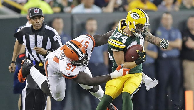 Green Bay Packers wide receiver Jared Abbrederis (84) runs after a catch against the Cleveland Browns at Lambeau Field.
