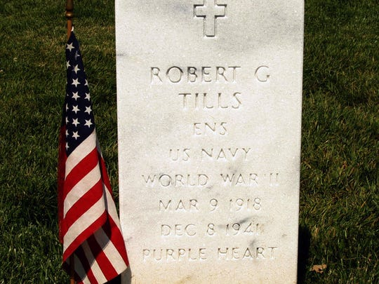 Robert Tills' gravesite at Arlington National Cemetery. Tills, of Manitowoc, was the first Navy office killed in the defense of the Philippine Islands during World War II. His remains were lost at sea for more than 65 years.