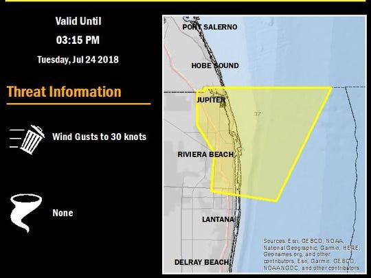 Marine weather statement issued until 3:15 p.m. July 24, 2018.