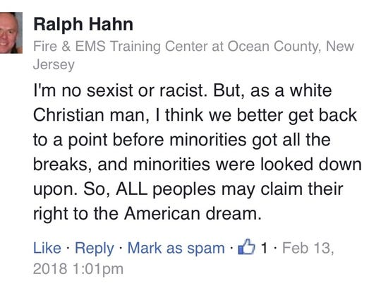 A screen grab of the Facebook comment made by Ralph Hahn, 64, a confidential assistant at the Ocean County Fire and EMS Training Center in Waretown.