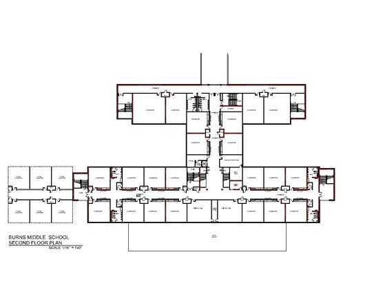 The second floor rendering of the proposed Burns middle