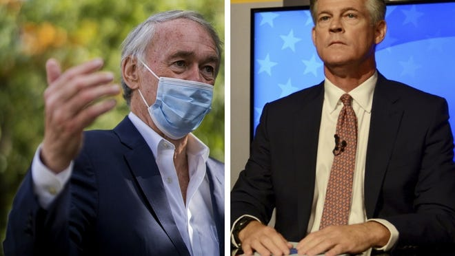 U.S. Sen. Edward Markey, left, speaks on Worcester Common on Oct. 3.  At right, Republican challenger Kevin O'Connor speaks during a debate Oct. 5 at the GBH studios in Boston.