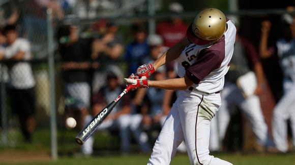 Arlington's Jack Melanophy hits during Monday's playoff game versus John Jay in LaGrangeville on May 2, 2018. Melanophy hit a three-run home run in his team's 6-2 win at White Plains High School on May 23, 2018 in the Section 1 Class AA quarterfinals.