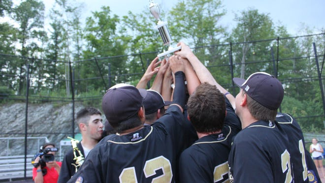 The Colchester Cannons celebrate after winning the 2015 American Legion baseball crown Monday at Castleton University. The Cannons topped Hartford 5-3.