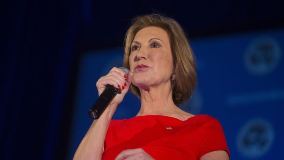 Republican presidential contender Carly Fiorina speaks at the National Federation of Republican Women Convention in Phoenix on Sept. 11.