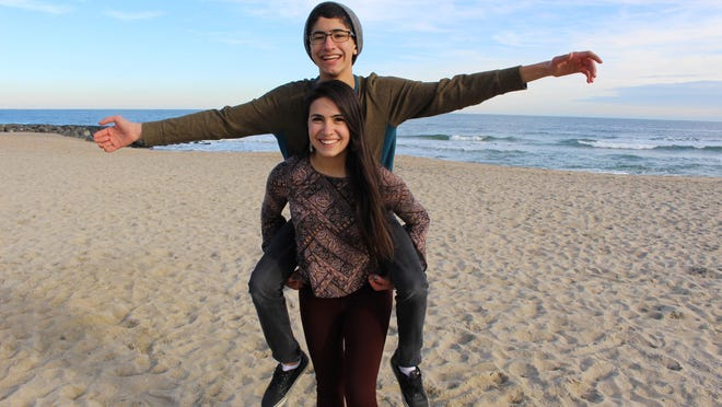 Cassidy DeStefano and her younger brother Cameron at Asbury Park beach.