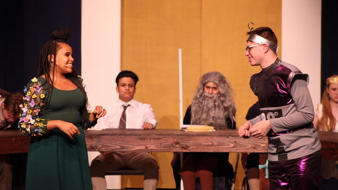 "Man In Moon (played by WHS student Jack Lombardo) is giddy from meeting Mother Nature (played by WHS student Blaise Hewlett) during a dress rehearsal for Washingtonville's upcoming play ""Pink Slip."""