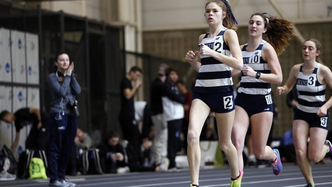 Hanover High grad Niamh Kenney leads a pack of Brandeis runners that includes Danielle Bertaux and Erin Magill.