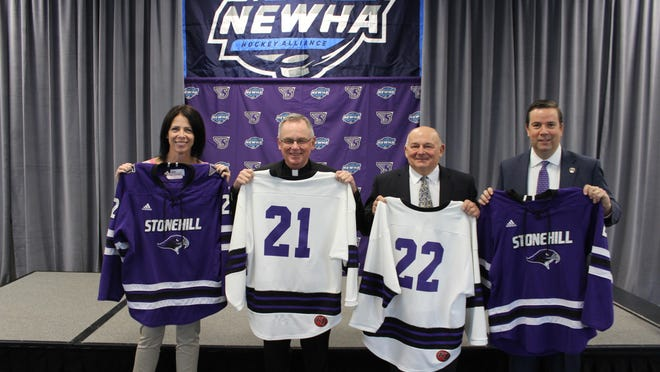 In December, Stonehill College announced it would field a women's ice hockey team. Their debut season, which was scheduled for 2021-2022, has been pushed back to 2022-2023 due to the COVID-19 pandemic.   Pictured from left to right: Pauline Dobrowski, VP of student affairs; Father John Denning, CSC, school president; Bob DeGregorio, NEWHA commissioner; and Dean O'Keefe, Stonehill director of athletics.