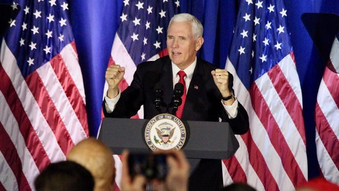 Vice President Mike Pence welcomes the crowd on Dec. 4, 2019, to a campaign rally in Holland. Pence is scheduled to hold a rally in the Grand Rapids area Wednesday, Oct. 14.