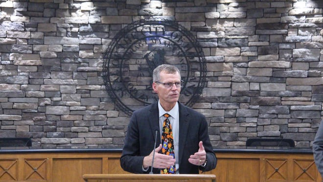 State Rep. Bradley Slagh, R-Zeeland, speaks during a town hall in Holland in October. Slagh said he hopes for more discussion between the state Legislature and Gov. Gretchen Whitmer during the next phases of the coronavirus pandemic in Michigan.