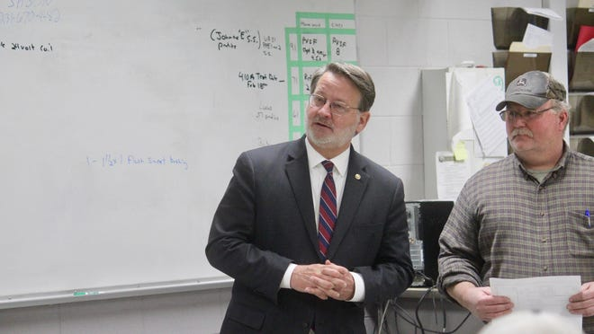 U.S. Sen. Gary Peters speaks to a class of apprentices during a tour of UA 174's Coopersville facility in Feb. 2020. On Wednesday, July 8, Peters introduced a plan to create a National Institute of Manufacturing.
