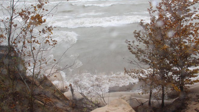 A collapsed sand dune near James St. in Park Township leads to Lake Michigan in Oct. 2019. On Tuesday, Environmental Protection Agency officials announced that the Macatawa Area Coordinating Council would be among the groups receiving federal grant funding to undertake cleanup efforts around the Great Lakes.