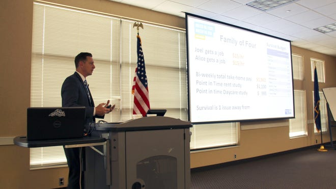 Greater Ottawa County United Way President Patrick Moran presents ALICE report information in 2019. Recent data shows that Black and Hispanic households in Ottawa County are more likely to be below the ALICE threshold than white households.