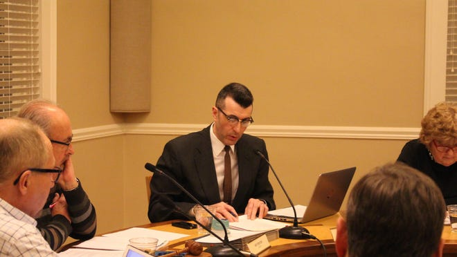City Manager Kirk Harrier speaks during a 2018 meeting of the Saugatuck City Council.