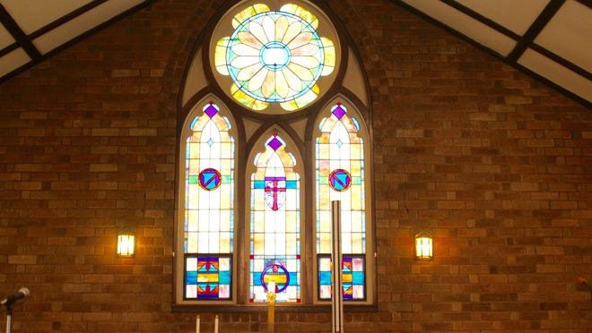 This stained glass window is one of two at Ganges United Methodist Church that are in danger of falling in as the wooden frames that hold the window have weakened over the years. The church has launched a fundraising campaign to try to save the windows, which are original to the 1931 church building.