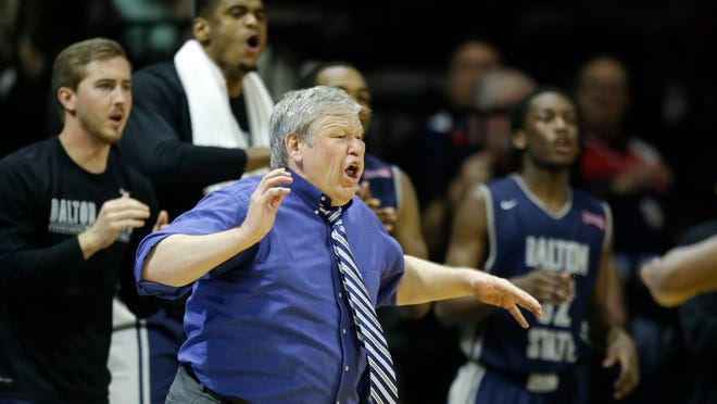 Tony Ingle directs his Dalton State team during the NAIA national championship game in 2015. Ingle also coached Kennesaw to the NCAA Division II national championship and presided over the program's entry to Division I and the ASUN.