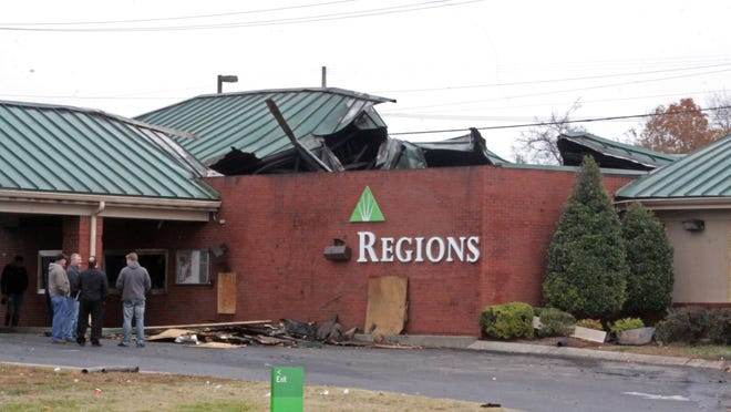 The Regions Bank on Wilma Rudolph Boulevard was heavily damaged in a fire. Clarksville Fire Marshal Ray Williams believed the building was a total loss.