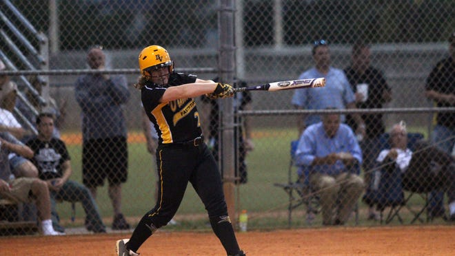 Bishop Verot's Madison Soto swings during Thursday night's District 4A-11 championship softball game against LaBelle. Verot prevailed 10-0.