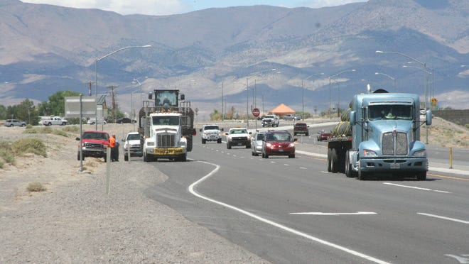Traffic moves on U.S. 50A east of the roundabout in Fernley in this file photo.