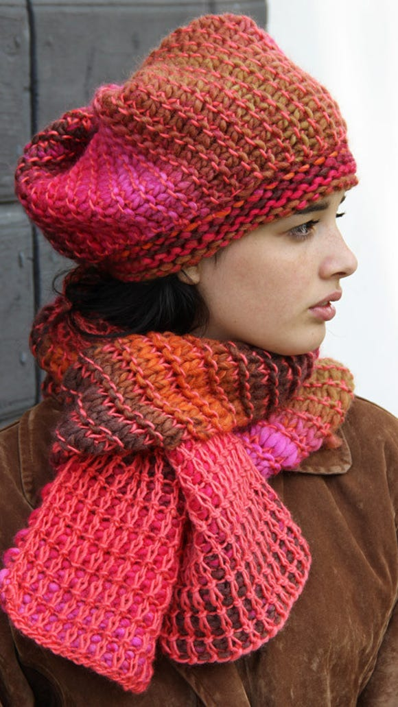 In this pattern, Teresa, Cornelia uses two weights of yarn together.