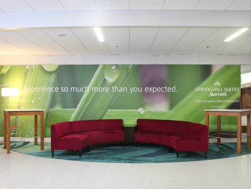 SpringHill Suites by Marriott has decorated security checkpoints at airports in Dallas and Charlotte, in exchange for advertising. The Transportation Security Administration appreciates calmer checkpoints.