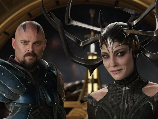 "Karl Urban and Cate Blanchett in a scene from ""Thor:"