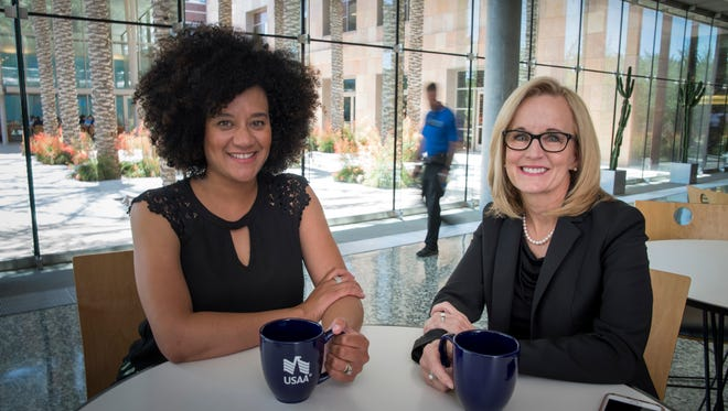 Latasha Causey, left, Phoenix Campus Site Director and Gay Meyer, Assistant VP of HR Regional Operations at USAA Phoenix.