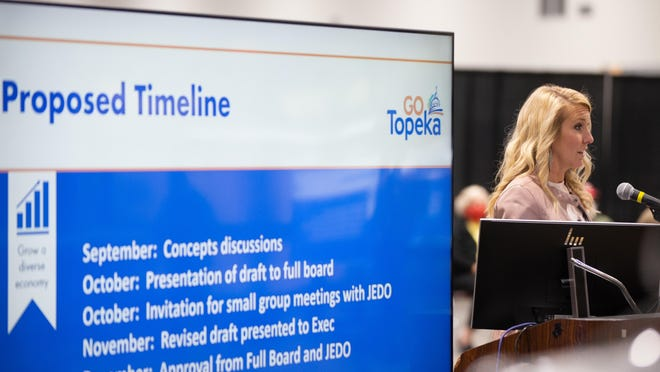 Molly Howey, president of GO Topeka, presents at September's meeting of Topeka and Shawnee County's Joint Economic Development Organization. JEDO approved two more incentive agreements Wednesday, helping two Topeka-based businesses expand their operations.