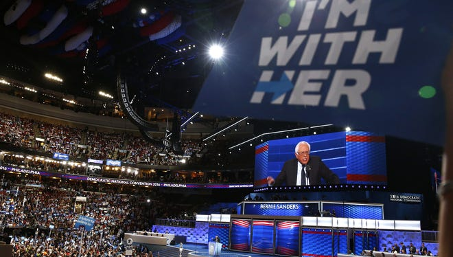 Sen. Bernie Sanders speaks during the opening day of the Democratic National Convention in Philadelphia.