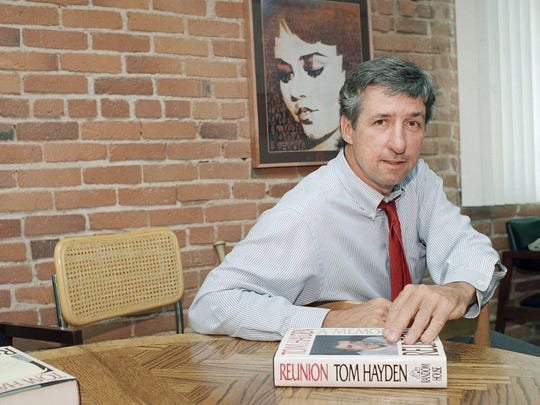 "In this June 6, 1988 file photo, Tom Hayden talks about his new book, ""Reunion,"" during a interview at his office in Santa Monica, Calif. Hayden, the famed 1960s anti-war activist who moved beyond his notoriety as a Chicago 8 defendant to become a California legislator, author and lecturer, has died. He was 76. His wife, Barbara Williams, says Hayden died on Sunday, Oct. 23, 2016, in Santa Monica of a long illness."