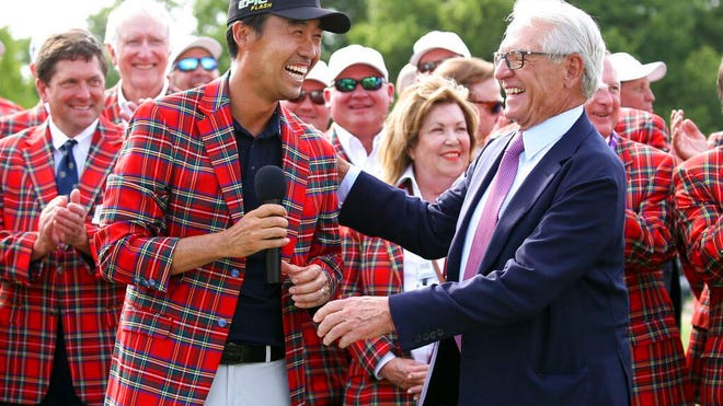 From May 26, 2019, Kevin Na, front left, is congratulated by Charles Schwab after winning The Charles Schwab Challenge at Colonial in Fort Worth, Texas. The PGA Tour laid out an ambitious plan to resume its season Thursday, April 16, 2020, with hopes of a restart at Colonial on June 11-14 and keeping fans away for at least the first month.