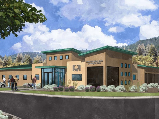An architect's rendering shows the New Humane Society of Lincoln County's James Cook Animal Shelter and Adoption Center being built on U.S. 70.