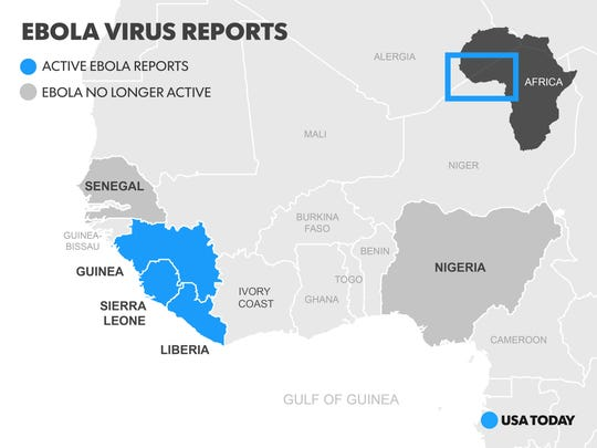 Countries with Ebola virus reports in West Africa.