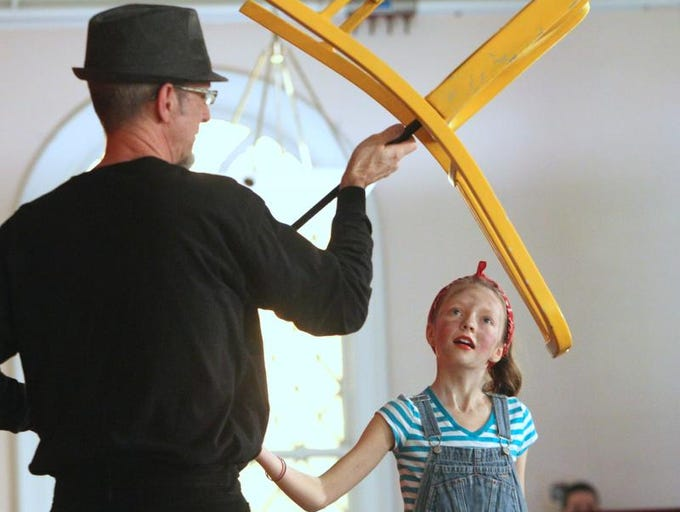 "Seth Leith of Nyack and his daughter, Tara, perform as ""Circus Fiasco"" during the ArtsRock Puppet Festival at the Nyack Center Jan. 18, 2014."
