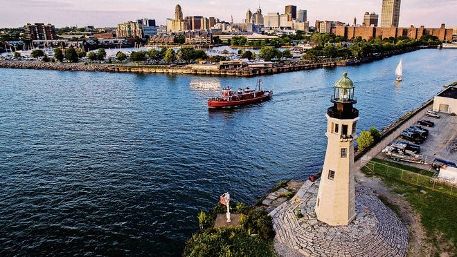 The Buffalo Main Lighthouse at the mouth of the Buffalo River and Erie Canal, directly across from the Erie Basin Marina.