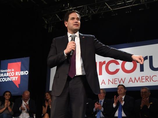 Florida Sen. Marco Rubio speaks at a rally at the Texas